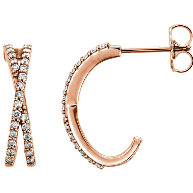 Fine Quality 14 Karat Rose Gold 0.25 Carat Total Weight Diamond Criss-Cross J-Hoop Earrings
