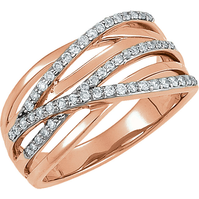 Great Buy in 14 KT Rose Gold Rhodium Plated 0.33 Carat TW Diamond Ring