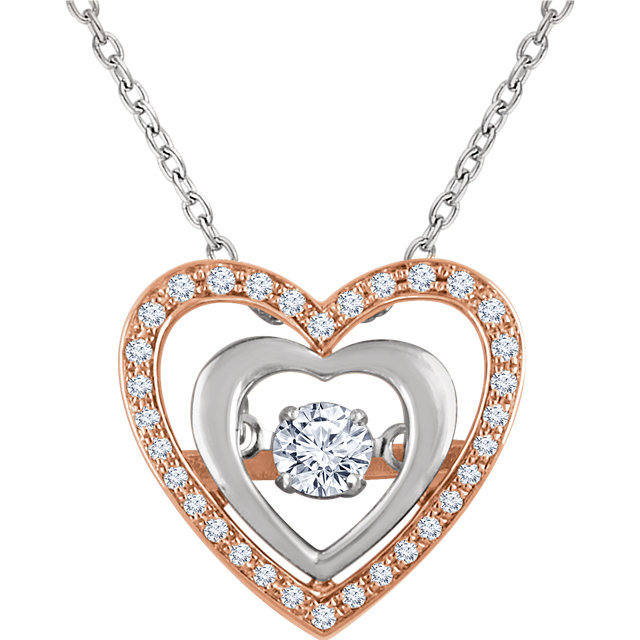 Spectacular 14 Karat Rose & White Gold 1/4 Carat Total Weight Round Genuine Diamond Heart 18