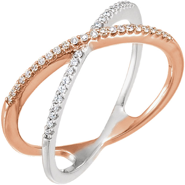Genuine 14 KT Rose Gold & White 0.17 Carat TW Diamond Criss-Cross Ring