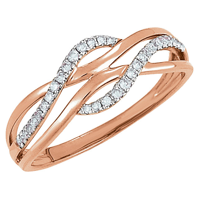 Quality 14 KT Rose Gold with White Rhodium Plating 0.12 Carat TW Diamond Ring