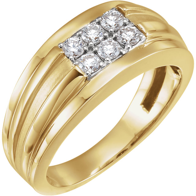 14 Karat Yellow Gold & White 0.50 Carat Diamond Men's Ring
