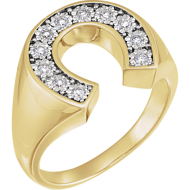 Genuine 14 Karat Yellow Gold & White 0.25 Carat Diamond Men's Horseshoe Ring