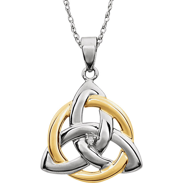 Easy Gift in 14 Karat White Gold & Yellow .004 Carat Diamond Celtic-Inspired Trinity Pendant