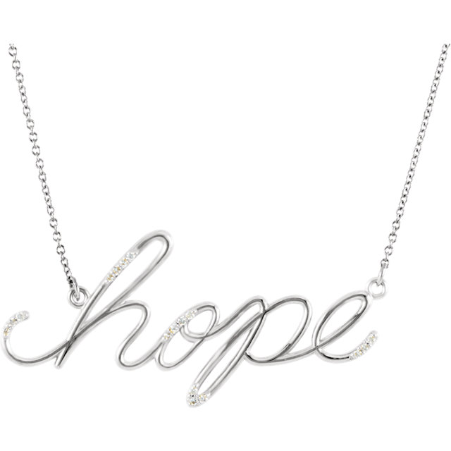 "Appealing Jewelry in 14 Karat White Gold .08 Carat Total Weight Diamond Hope 16 0.50"" Necklace"