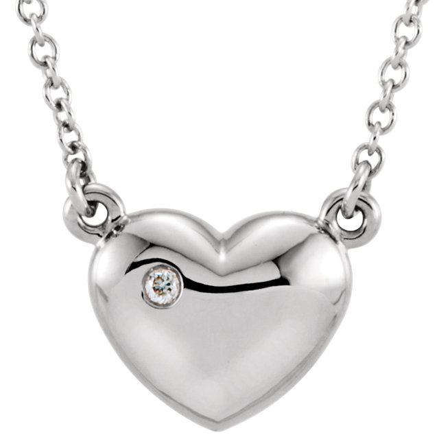 Perfect Jewelry Gift 14 Karat White Gold .01 Carat Total Weight Diamond Heart 16.5