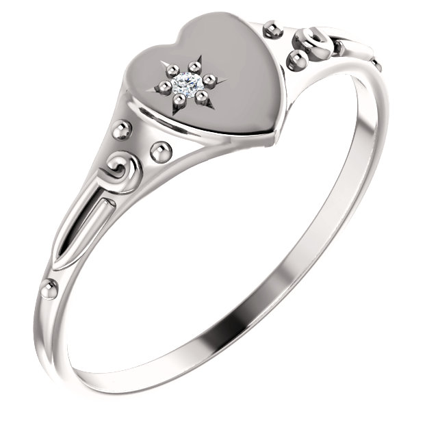 14 Karat White Gold .01 Diamond Heart Ring Size 3
