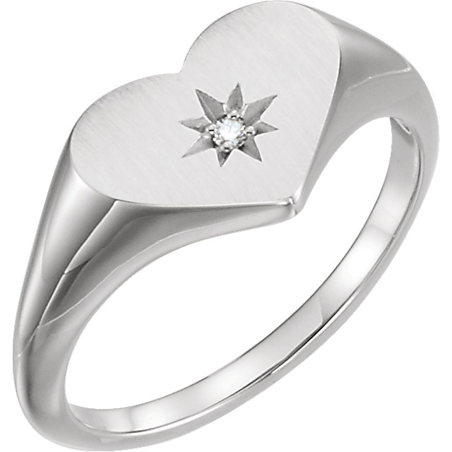 14 Karat White Gold .01 Carat Round Genuine Diamond Heart Signet Ring