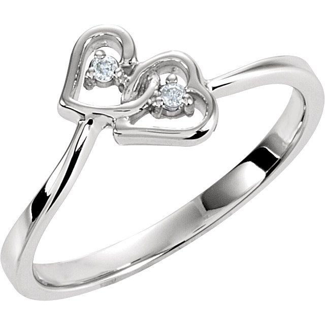White Diamond Ring in 14 Karat White Gold .02 Carat Diamond Double Heart Ring