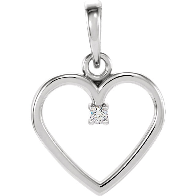 Stylish 14 Karat White Gold .02 Carat Total Weight Genuine Diamond Heart Pendant