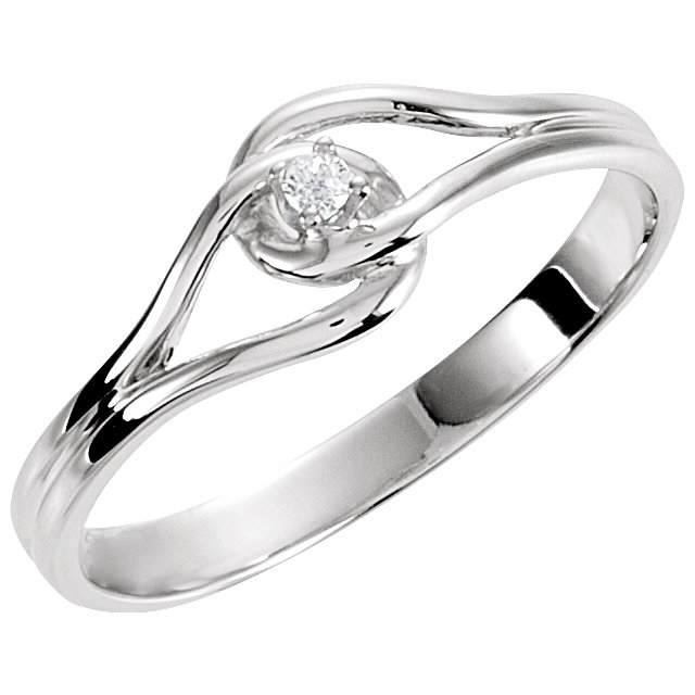 White Diamond Ring in 14 Karat White Gold .02 Carat Diamond Ring