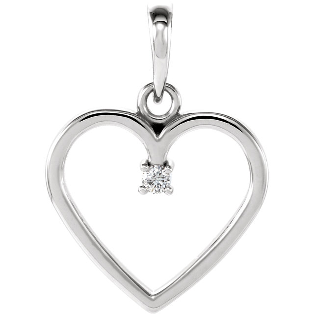 Amazing 14 Karat White Gold .025 Carat Total Weight Round Genuine Diamond Heart Pendant