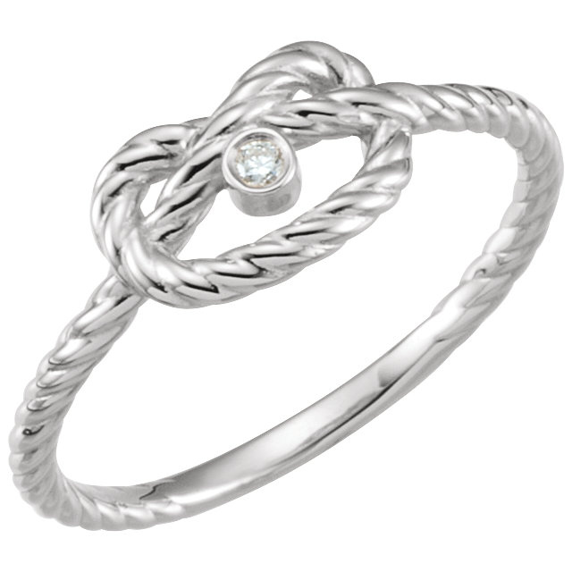 Genuine  14 Karat White Gold .025 Carat Diamond Rope Knot Ring Size 7