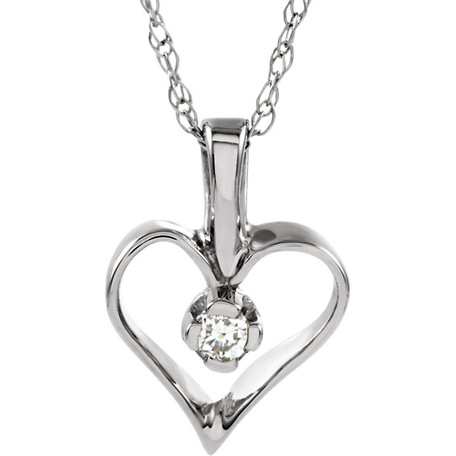 Stunning 14 Karat White Gold .03 Carat Total Weight Diamond Heart 18