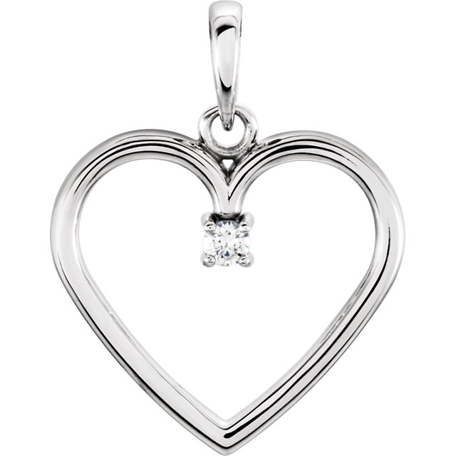 Fantastic 14 Karat White Gold .03 Carat Total Weight Round Genuine Diamond Heart Pendant