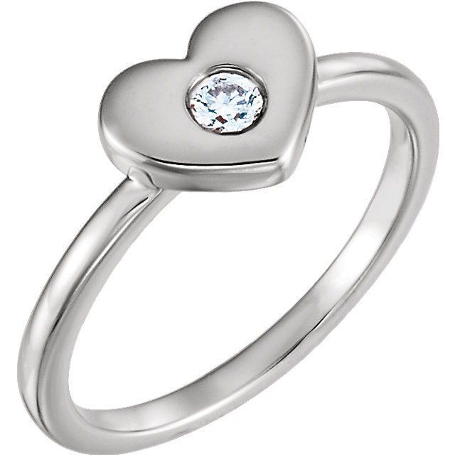 Genuine 14 Karat White Gold .03 Carat Diamond Heart Ring