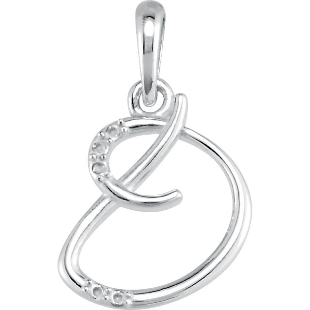 Eye Catchy 14 Karat White Gold .03 Carat Total Weight Diamond Letter