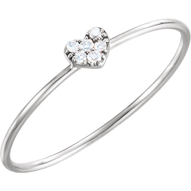 14 Karat White Gold .03 Carat Diamond Petite Heart Ring
