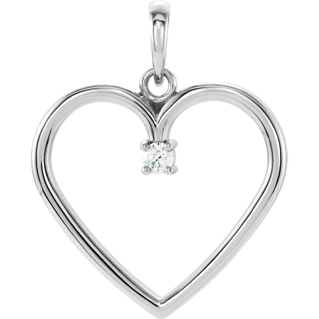 Appealing Jewelry in 14 Karat White Gold .04 Carat Total Weight Diamond Heart Pendant