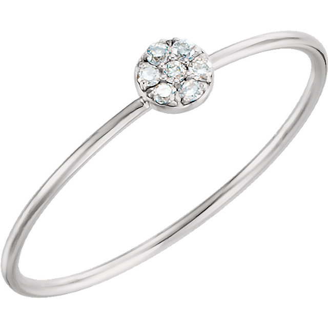 Quality 14 KT White Gold .04 Carat TW Diamond Petite Circle Ring