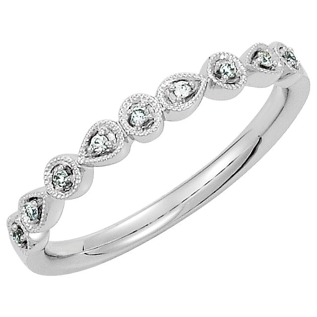 Shop 14 Karat White Gold .04 Carat Diamond Ring Size 7
