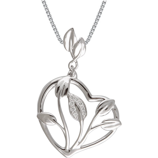 Easy Gift in 14 Karat White Gold .05 Carat Total Weight Diamond Heart Leaf Design 18