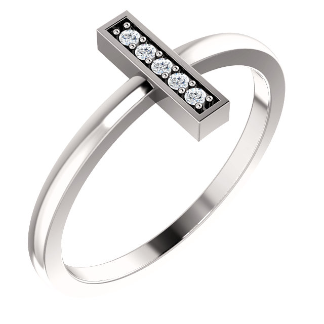 Genuine  14 Karat White Gold .05 Carat Diamond Bar Ring