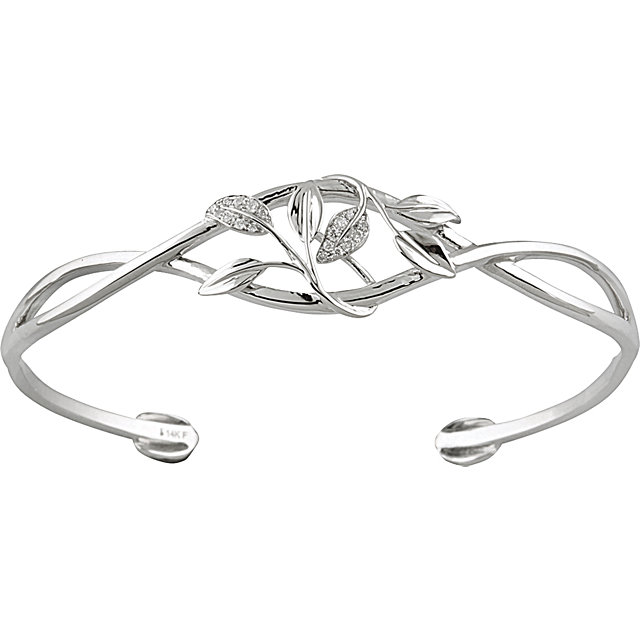 Best 14 Karat White Gold .05 Carat Total Weight Round Genuine Diamond Leaf Design Cuff Bracelet