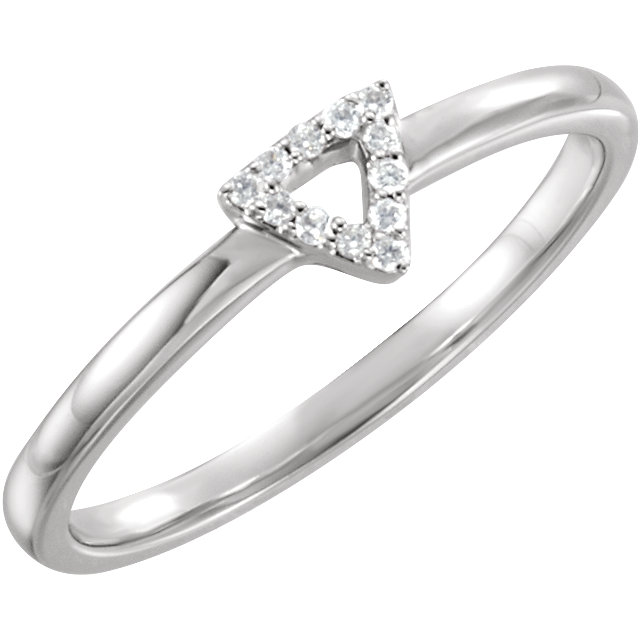 14 KT White Gold .05 Carat TW Diamond Triangle Stackable Ring