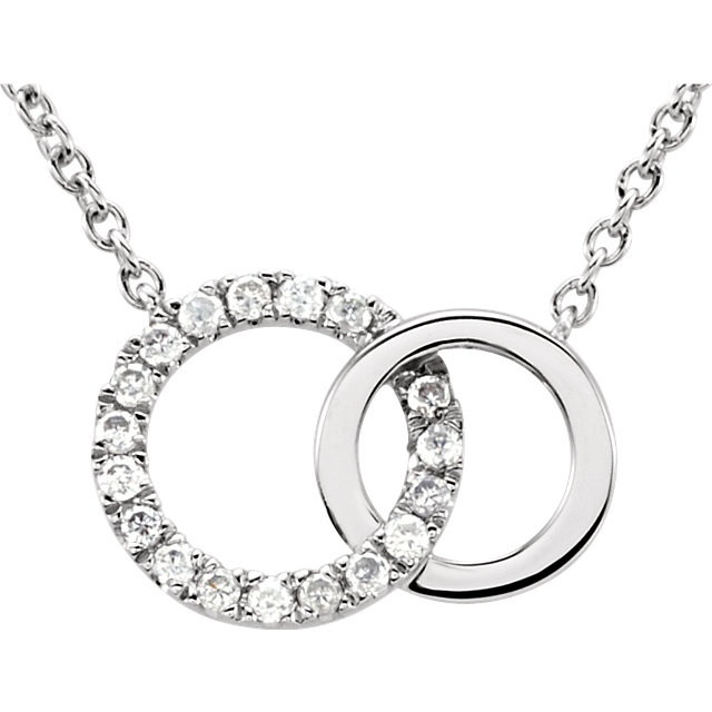Genuine 14 Karat White Gold .06 Carat Diamond Circle 18