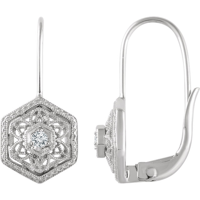 Appealing Jewelry in 14 Karat White Gold .06 Carat Total Weight Diamond Filigree Earrings