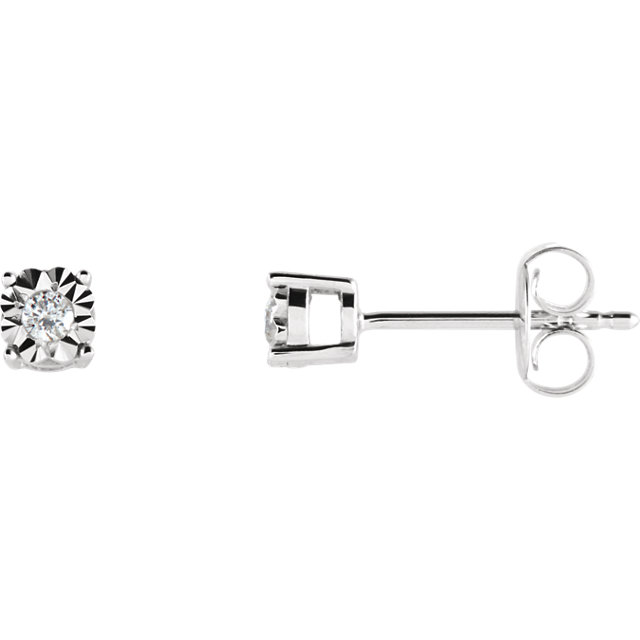 14 KT White Gold .06 Carat Total Weight Diamond Illusion Stud Earrings