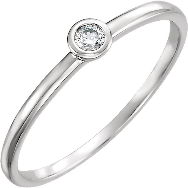 Low Price on Quality 14 KT White Gold .06 Carat TW Diamond Ring