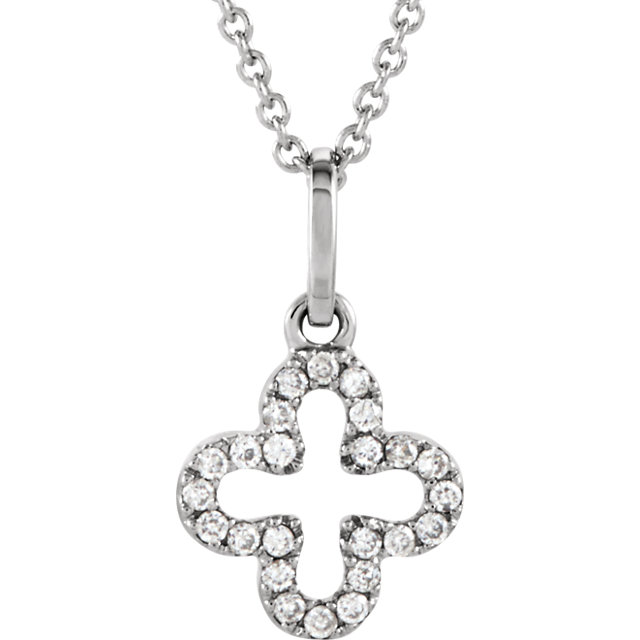 Perfect Jewelry Gift 14 Karat White Gold .07 Carat Total Weight Petite Diamond Cross 16