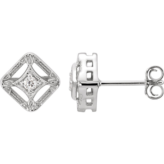 Appealing Jewelry in 14 Karat White Gold .075 Carat Total Weight Diamond Filigree Earrings