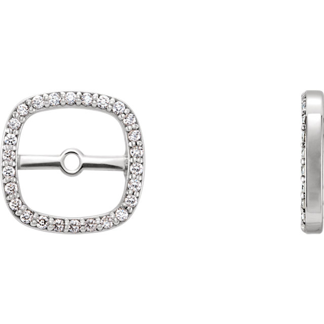 Buy Real 14 KT White Gold .08 Carat TW Diamond Earring Jackets