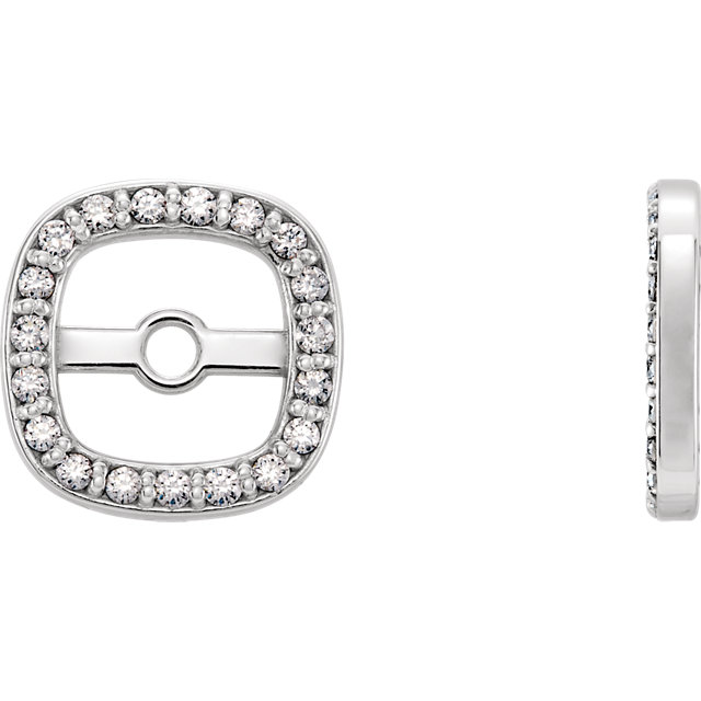 Perfect Gift Idea in 14 Karat White Gold .08 Carat Total Weight Diamond Earring Jackets