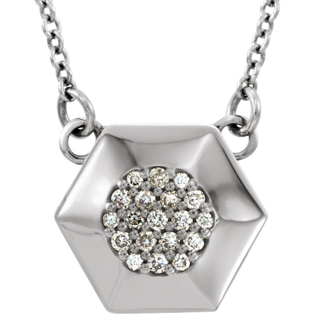Easy Gift in 14 Karat White Gold .08 Carat Total Weight Diamond Geometric 16.5