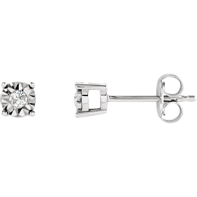14 KT White Gold .08 Carat Total Weight Diamond Illusion Stud Earrings