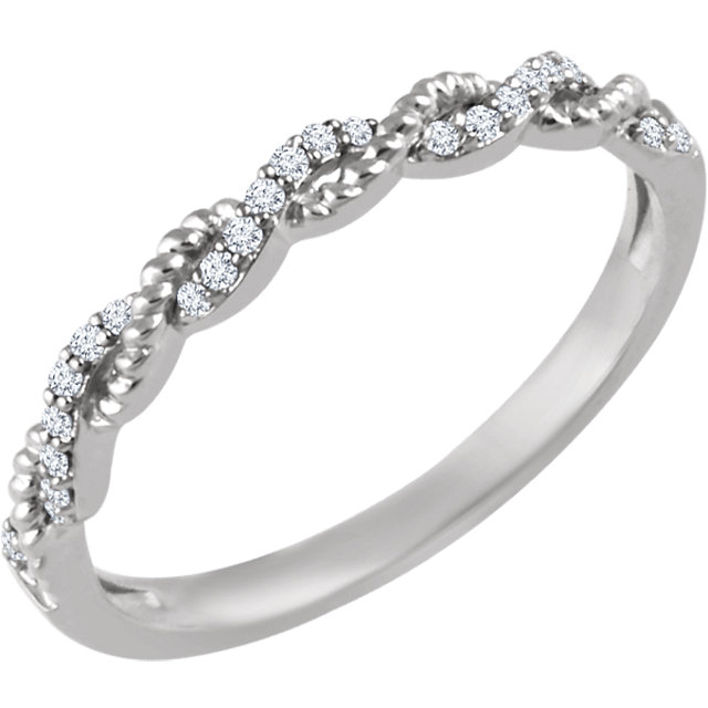 Great Gift in 14 Karat White Gold .08 Carat Total Weight Diamond Stackable Ring