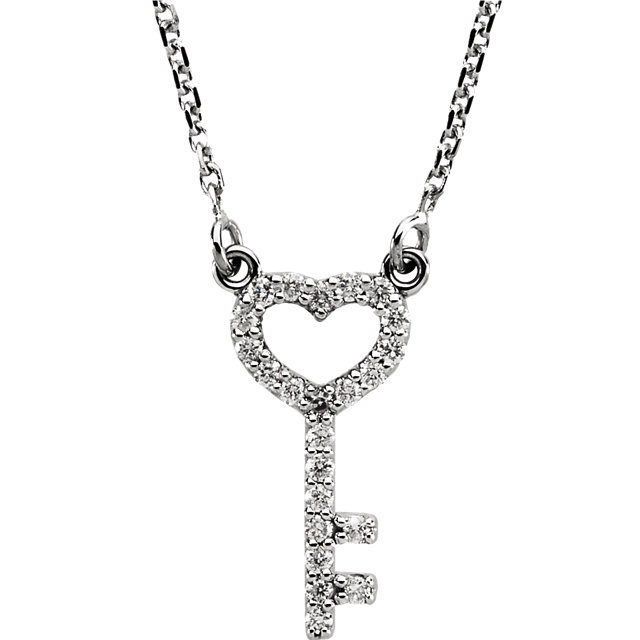 Fine Quality 14 Karat White Gold 0.12 Carat Total Weight Diamond Petite Heart Key 16.5