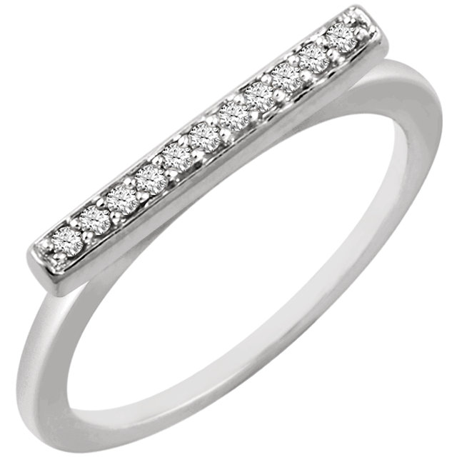 Genuine 14 KT White Gold 0.10 Carat TW Diamond Bar Ring