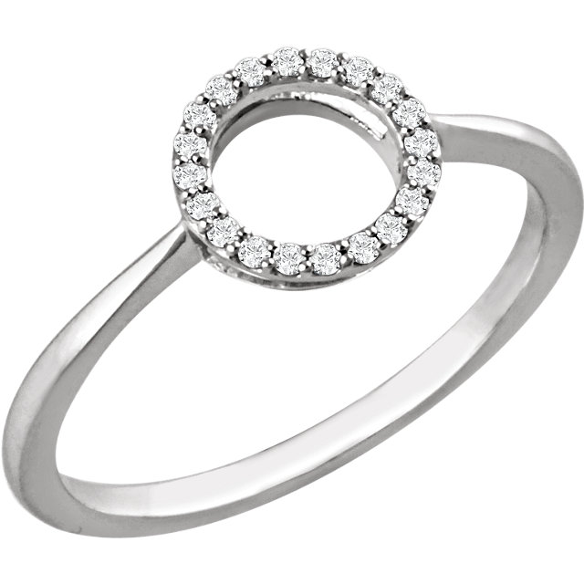 Shop Real 14 KT White Gold 0.10 Carat TW Diamond Circle Ring