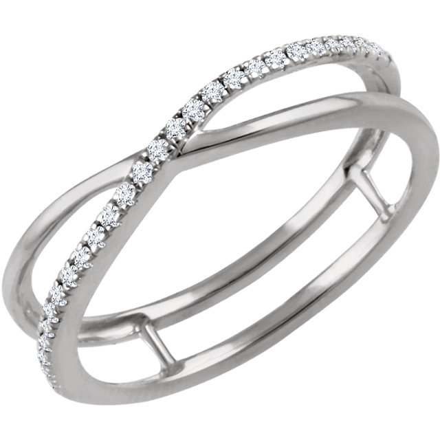 14 Karat White Gold 0.10 Carat Diamond Criss-Cross Ring