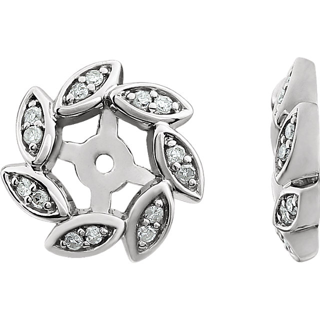 Easy Gift in 14 Karat White Gold 0.10 Carat Total Weight Diamond Earring Jackets