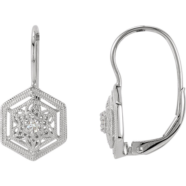 14 KT White Gold 1/10 Carat Total Weight Diamond Filigree Lever Back Earrings