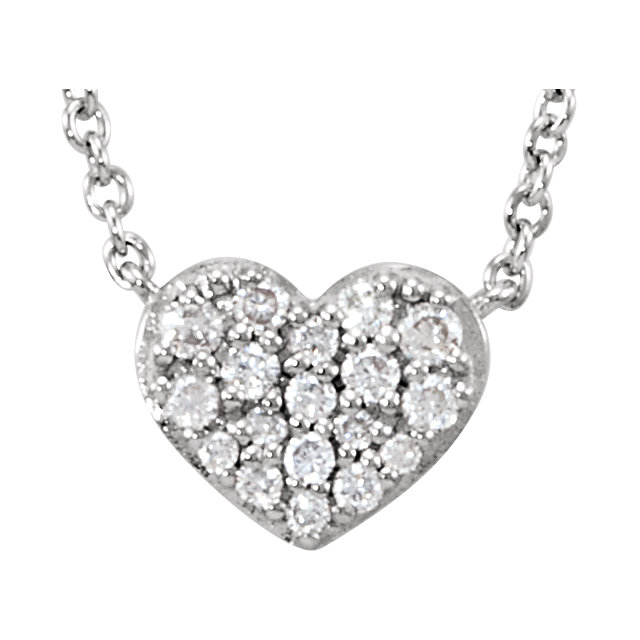 Must See 14 Karat White Gold 0.10 Carat Total Weight Diamond Heart 18