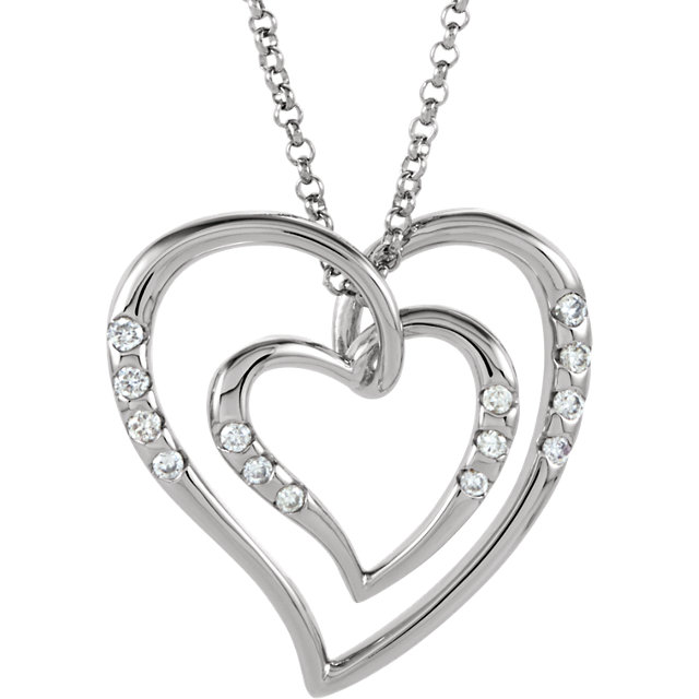 14 KT White Gold 1/10 Carat Total Weight Diamond Heart Necklace