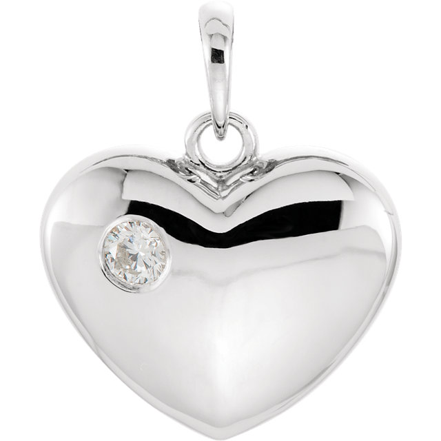 Buy 14 Karat White Gold 0.10 Carat Diamond Heart Pendant