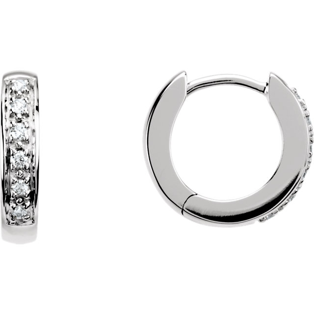 Fine Quality 14 Karat White Gold 0.10 Carat Total Weight Diamond Hoop Earrings